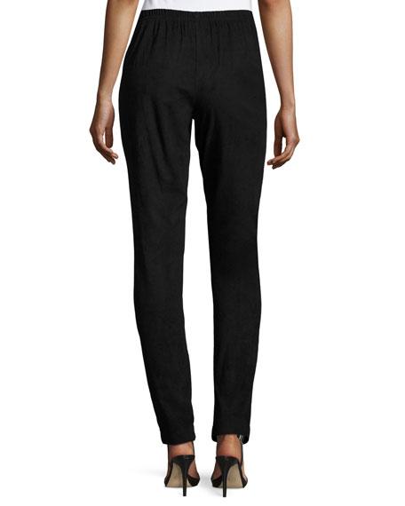 Sueded Skinny Pants, Black, Plus Size