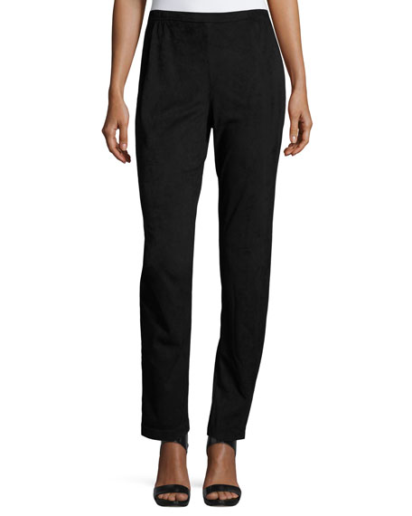 Sueded Skinny Pants, Black, Plus Size