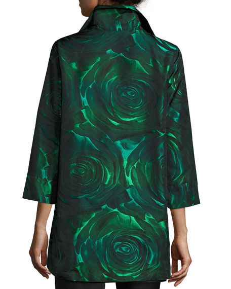Night Blooms Jacquard Party Jacket, Emerald/Black, Plus Size