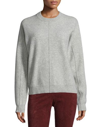 Compact Wool Crewneck Sweatshirt, Marble