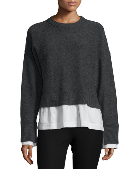 Joseph Wool-Blend Striped-Trim Illusion Sweater, Coal/White/Blue