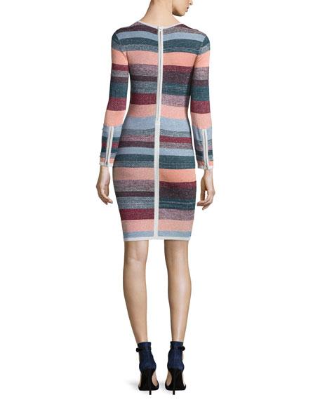 Lynn Metallic-Striped Knit Dress
