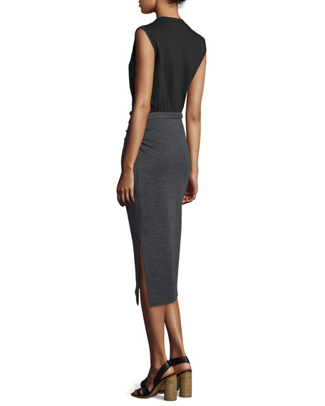 Ellis Sleeveless Jersey Dress, Black/Gray