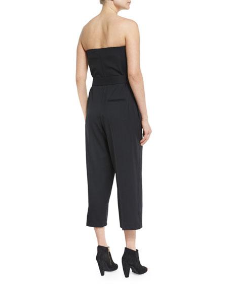 Belted Strapless Jumpsuit, Black