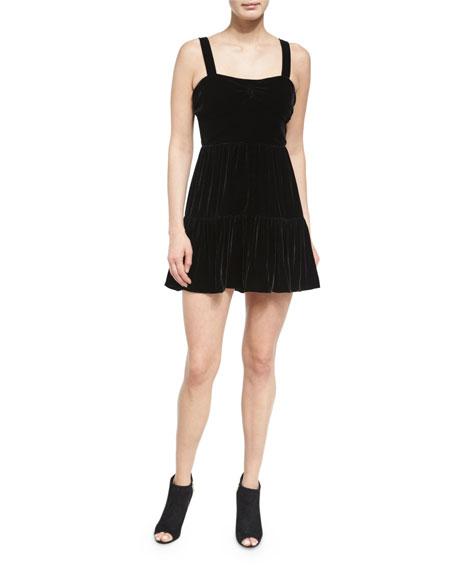 McQ Alexander McQueen Sleeveless Smocked Velour Dress &