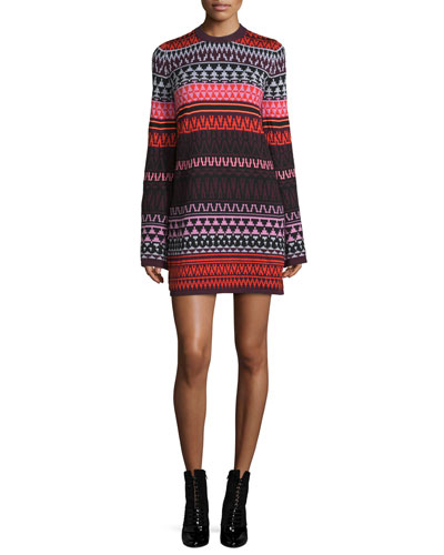 Long-Sleeve Fair Isle Tunic Dress, Red