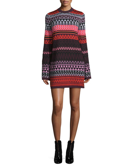 McQ Alexander McQueen Long-Sleeve Fair Isle Tunic Dress, Red ...