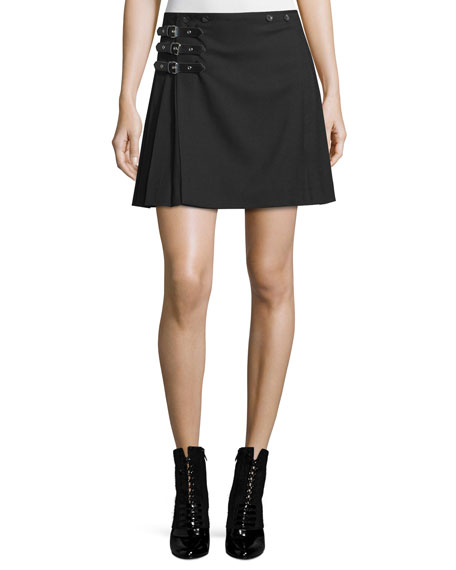 McQ Alexander McQueen Buckled Pleated A-Line Skirt, Black