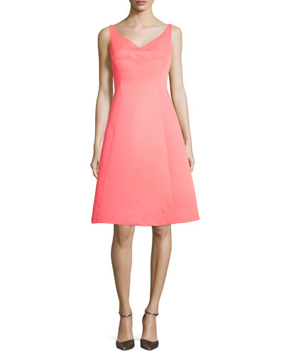 sleeveless structured fit-and-flare dress, surprise coral