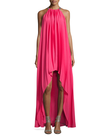 Halston Heritage Sleeveless Pleated Chiffon Gown, Begonia