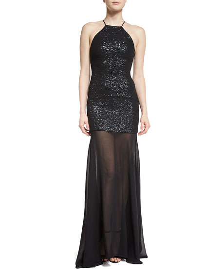 Halston Heritage Sleeveless Sequin & Tulle Gown, Black/Gunmetal