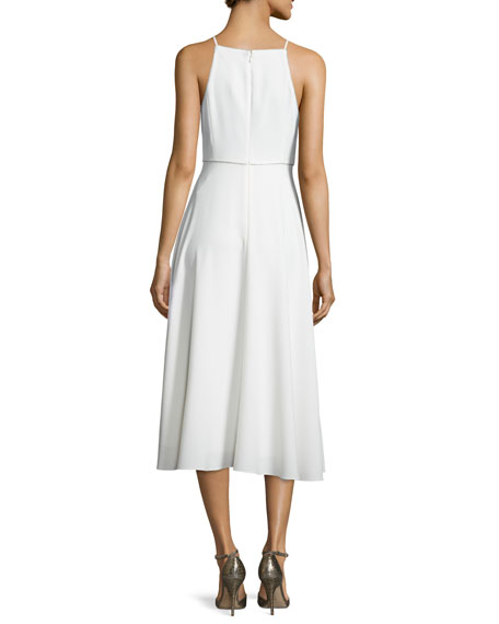 Sleeveless Beaded V-Neck Midi Dress, Chalk