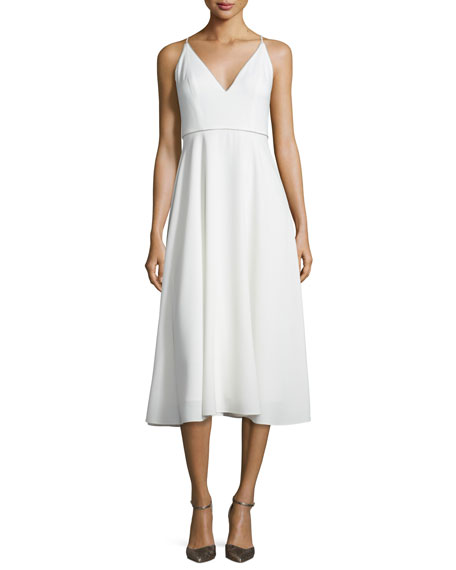 Halston Heritage Sleeveless Beaded V-Neck Midi Dress, Chalk