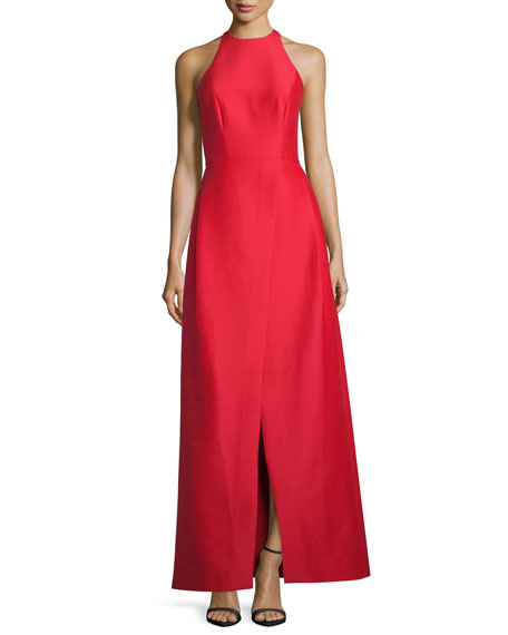 Halston Heritage Sleeveless Structured Taffeta Gown, Scarlet