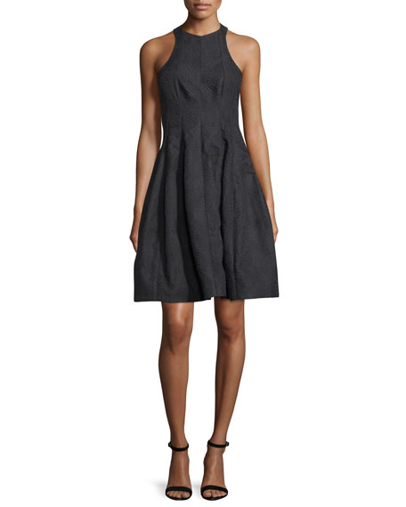Halston Heritage Paneled Jacquard Fit-and-Flare Cocktail Dress,