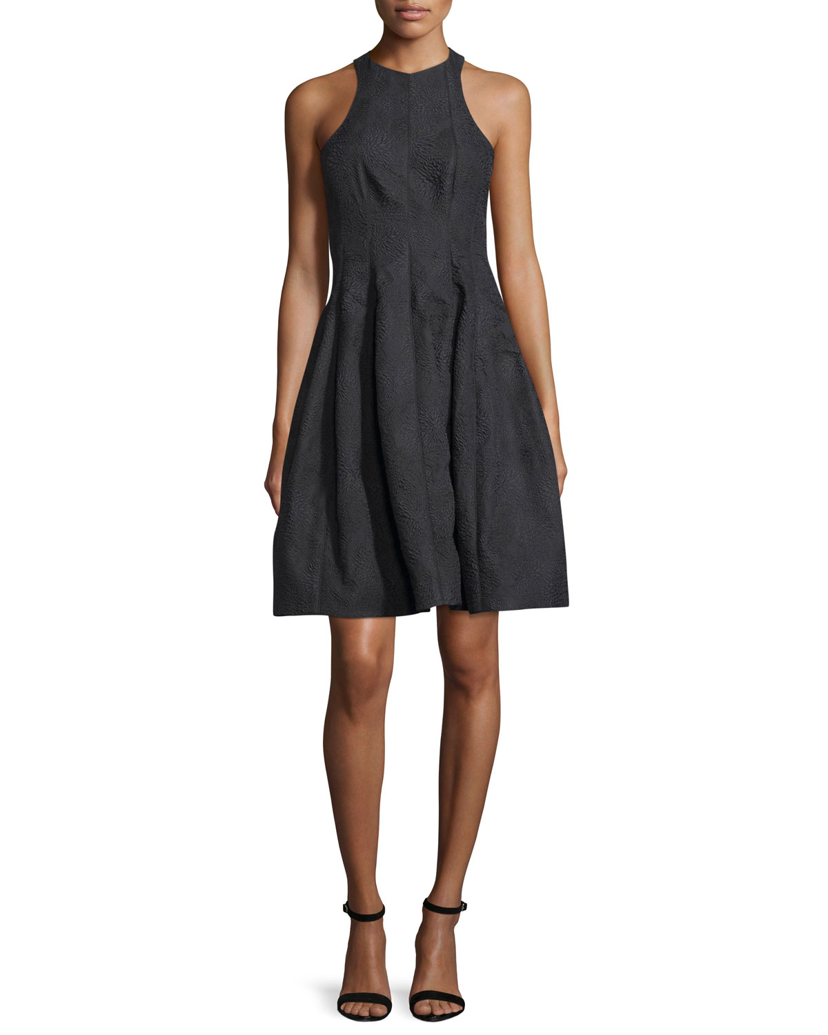 2b1b18977dc1 Halston Heritage Paneled Jacquard Fit-and-Flare Cocktail Dress, Black