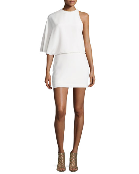 Halston Heritage Asymmetric Draped Cocktail Dress, Chalk