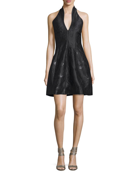 Halston Heritage Metallic Jacquard Halter Dress, Black