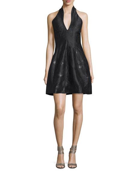 Halston Heritage Metallic Jacquard Halter Dress, Black