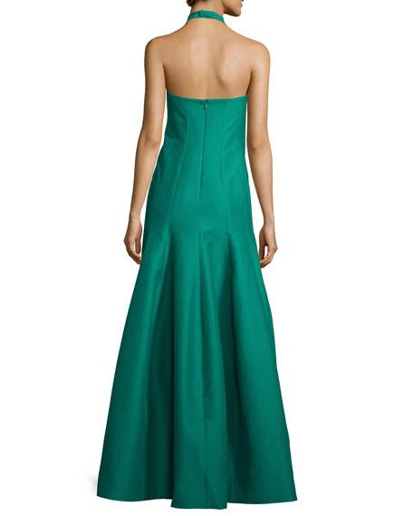 Faille Halter Tulip Gown, Emerald