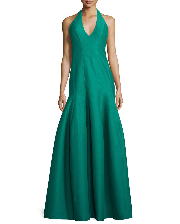 Halston Heritage Faille Halter Tulip Gown, Emerald | Neiman Marcus
