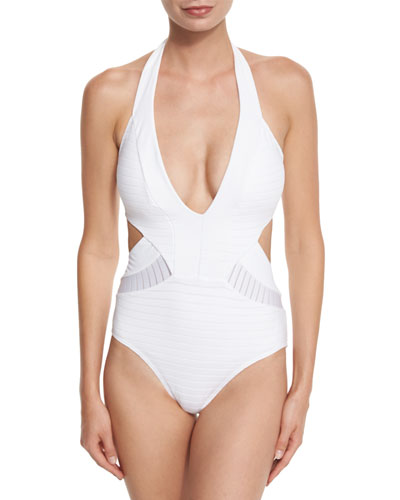 Parallels Plunging Halter One-Piece Swimsuit, White