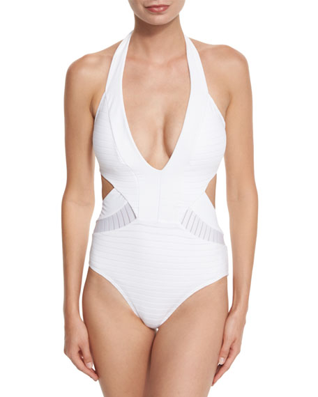 JETS by Jessika Allen Parallels Plunging Halter One-Piece