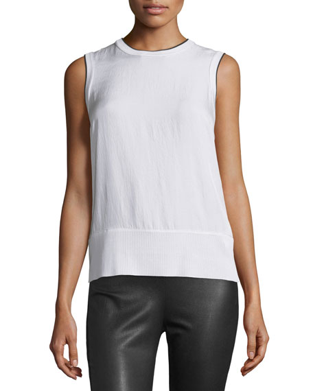 Rag & Bone Abby Piped Crepe Tank, Bright