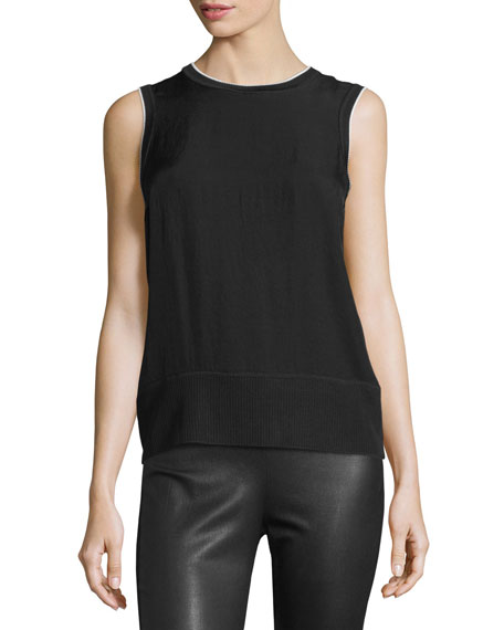 Rag & BoneAbby Piped Crepe Tank, Black