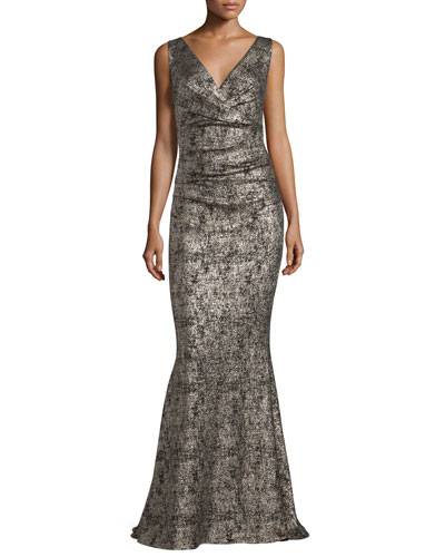 Bossa Sleeveless Metallic Mermaid Gown, Gold