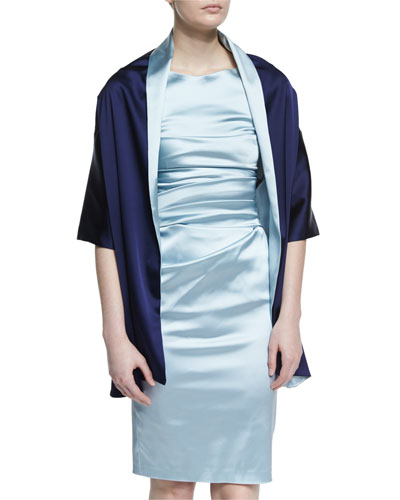Diona Two-Tone Short-Sleeve Stole, Azur/Majestic
