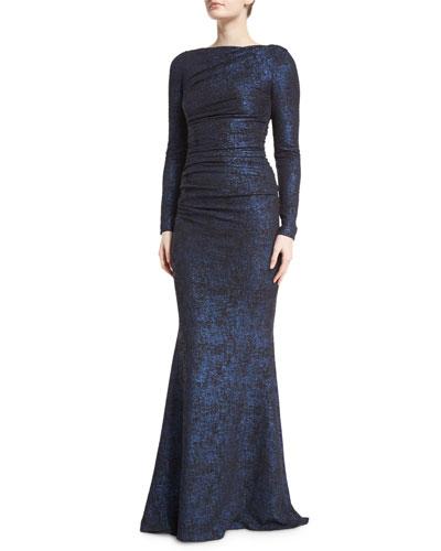 Dorango Long-Sleeve Laminated Cloque Gown, Navy