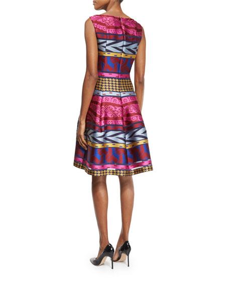 Goma Tribal-Print Fit-&-Flare Dress, Pink/Multi
