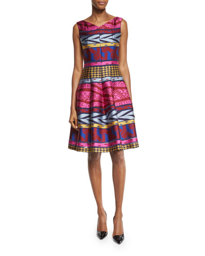 Goma Tribal-Print Fit-&-Flare Dress, Multi Colors
