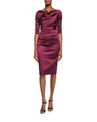 Gosling 3/4-Sleeve Ruched Satin Dress, Burgundy