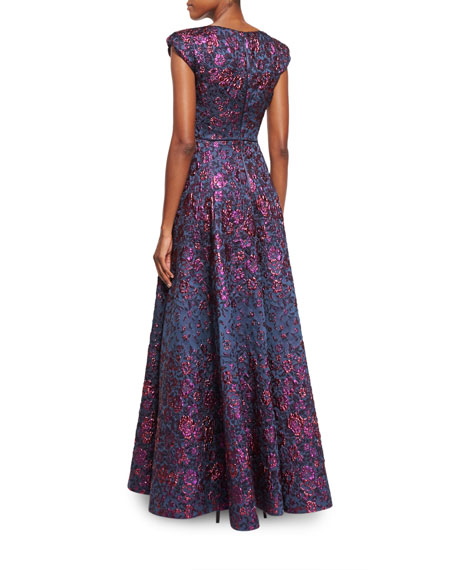 Holda Cap-Sleeve Degrade Brocade Gown, Midnight