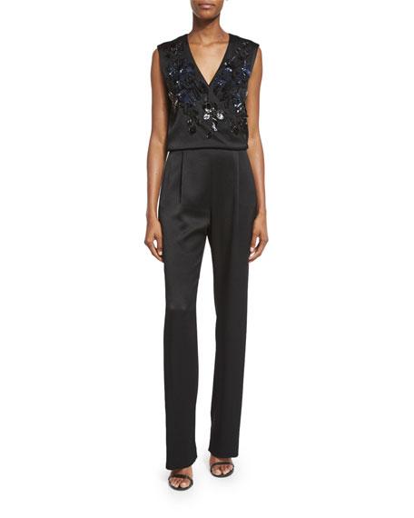Kiana Embellished-Bodice Jumpsuit, Black
