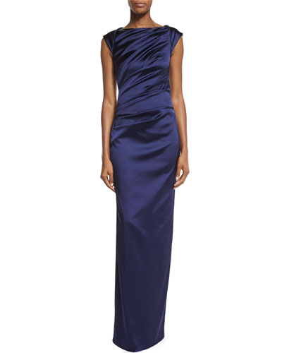 Komet Cap-Sleeve Ruched Column Gown, Majestic