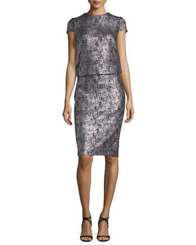 Lochar Short-Sleeve Metallic Cocktail Dress, Silver