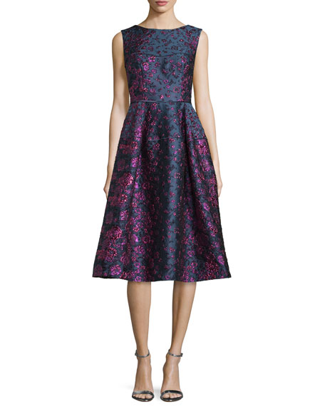 Locomotion Sleeveless Brocade Scoop-Back Dress, Purple