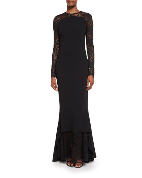 Lotsane Long-Sleeve Lace & Crepe Gown, Black