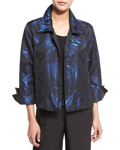 Night Blooms Jacquard Gala Jacket, Sapphire/Black