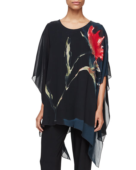You're Invited Watercolor Floral-Print Caftan, Black Multi, Petite