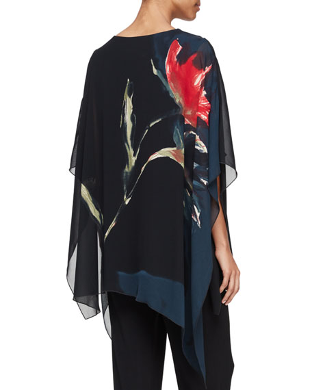 You're Invited Watercolor Floral-Print Caftan, Black Multi