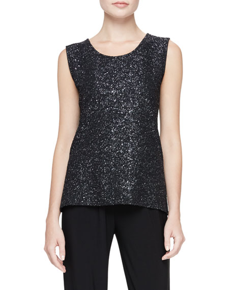 Caroline Rose Starry Night Metallic Tank, Petite