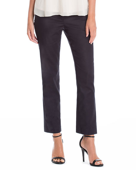 NIC+ZOE The Perfect Front-Zip Ankle Pants, Black Onyx,