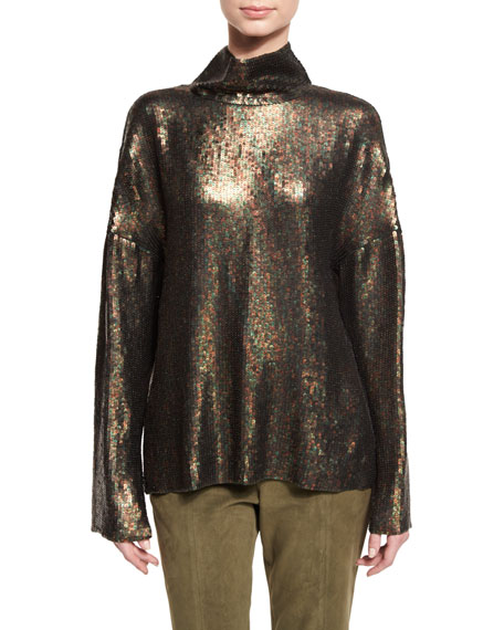 Tibi Sequin Funnel-Neck Long-Sleeve Top & Alain Suede