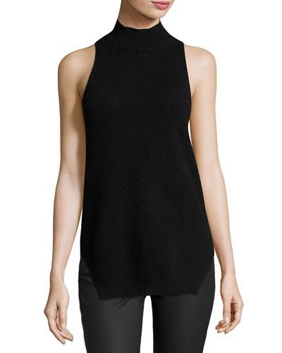 Logan Sleeveless Racerback Cashmere Top, Black