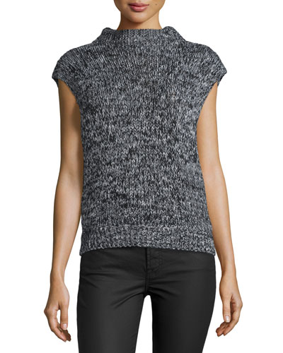 Beau Marled Cap-Sleeve Wool-Blend Sweater, Black Tweed
