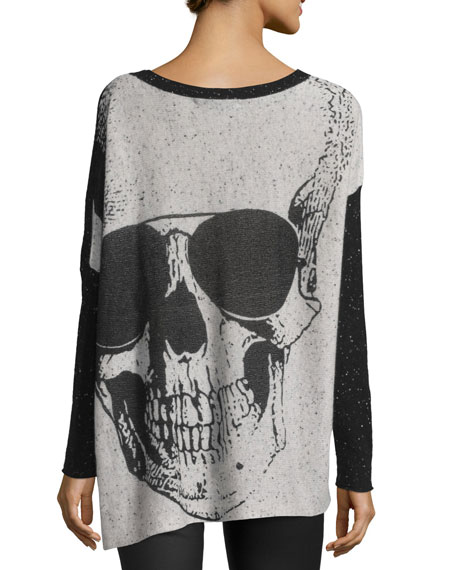 Long-Sleeve Cashmere Tee w/ Giant Skull Back, Black/Frost